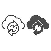 Cloud and arrows line and solid icon, Coworking concept, Data Sync sign on white background, cloud synchronization icon in outline style for mobile concept and web design. Vector graphics