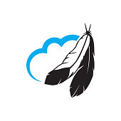 cloud and feathers, vector graphic design element