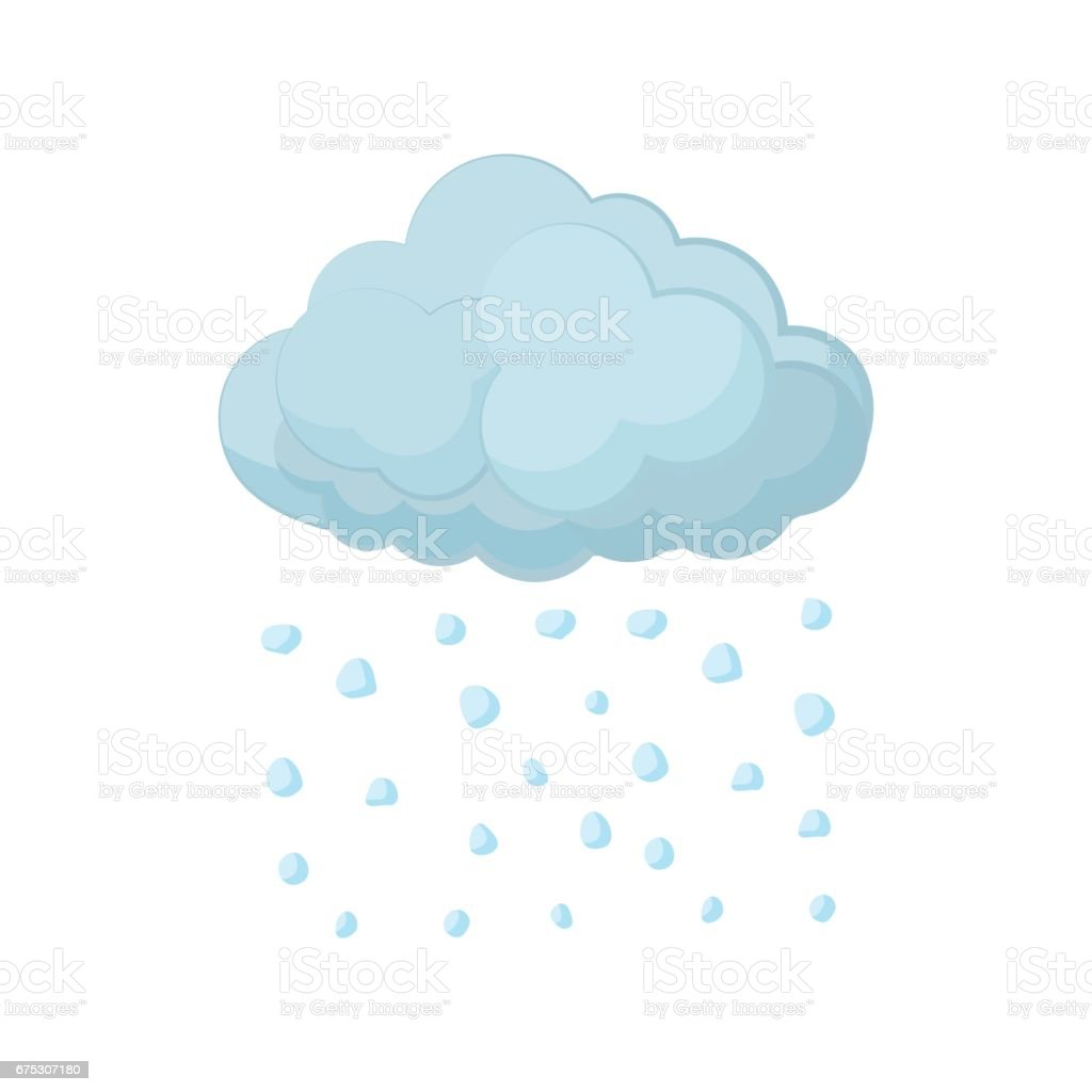 Cloud and hail icon, cartoon style vector art illustration