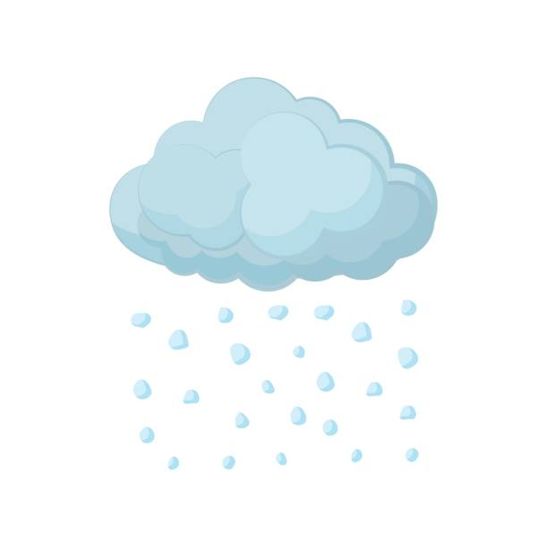 Cloud and hail icon, cartoon style Cloud and hail icon in cartoon style on a white background hailing a ride stock illustrations