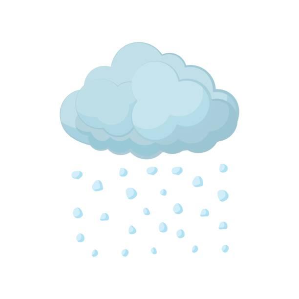 illustrazioni stock, clip art, cartoni animati e icone di tendenza di cloud and hail icon, cartoon style - grandine vector