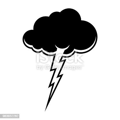 Cloud And Lightning Symbol Thunderstorm Sign Storm Weather Icon