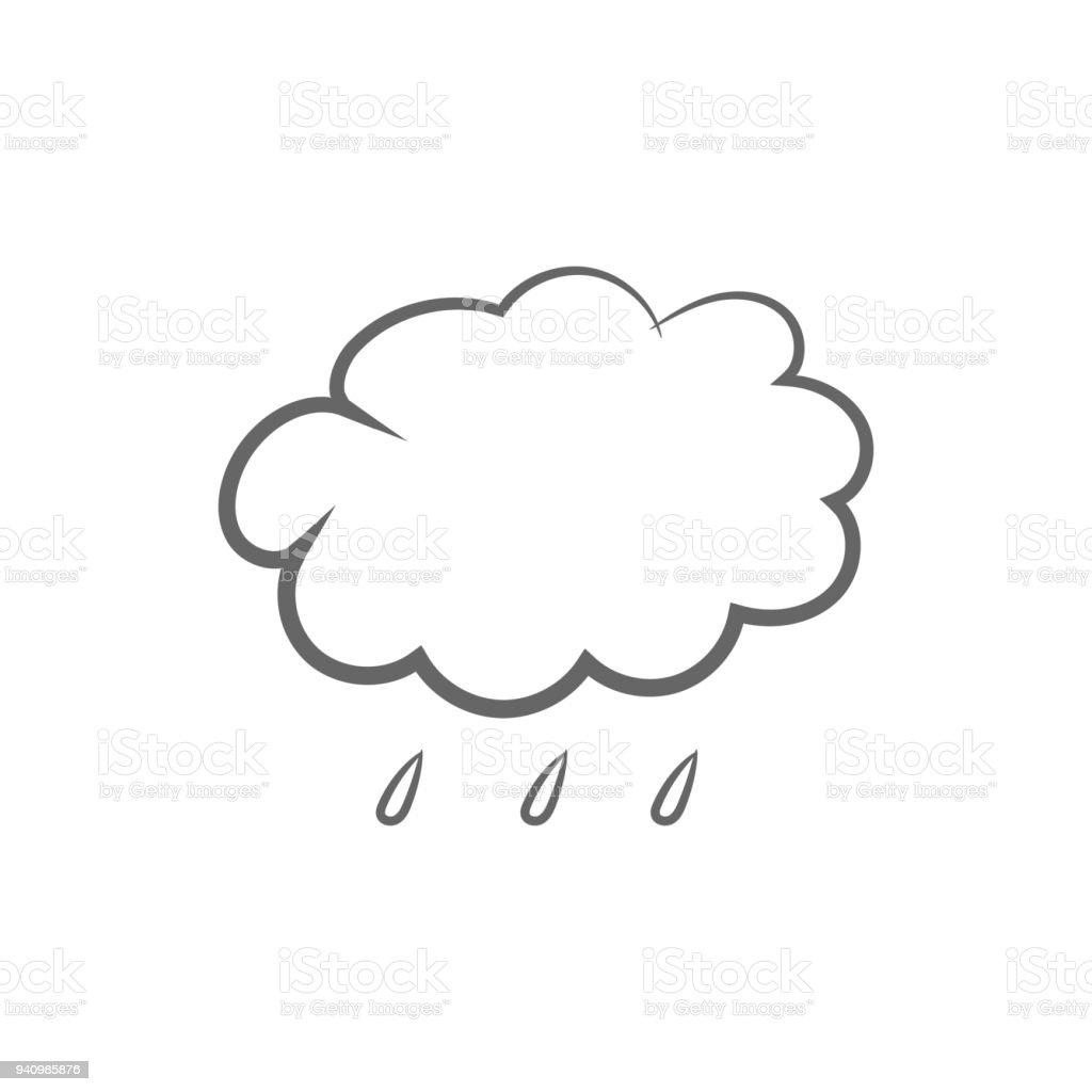 Bulut Ve Yagmur Damlalari Hava Tahmini Simgesi Vektor Stok Vektor