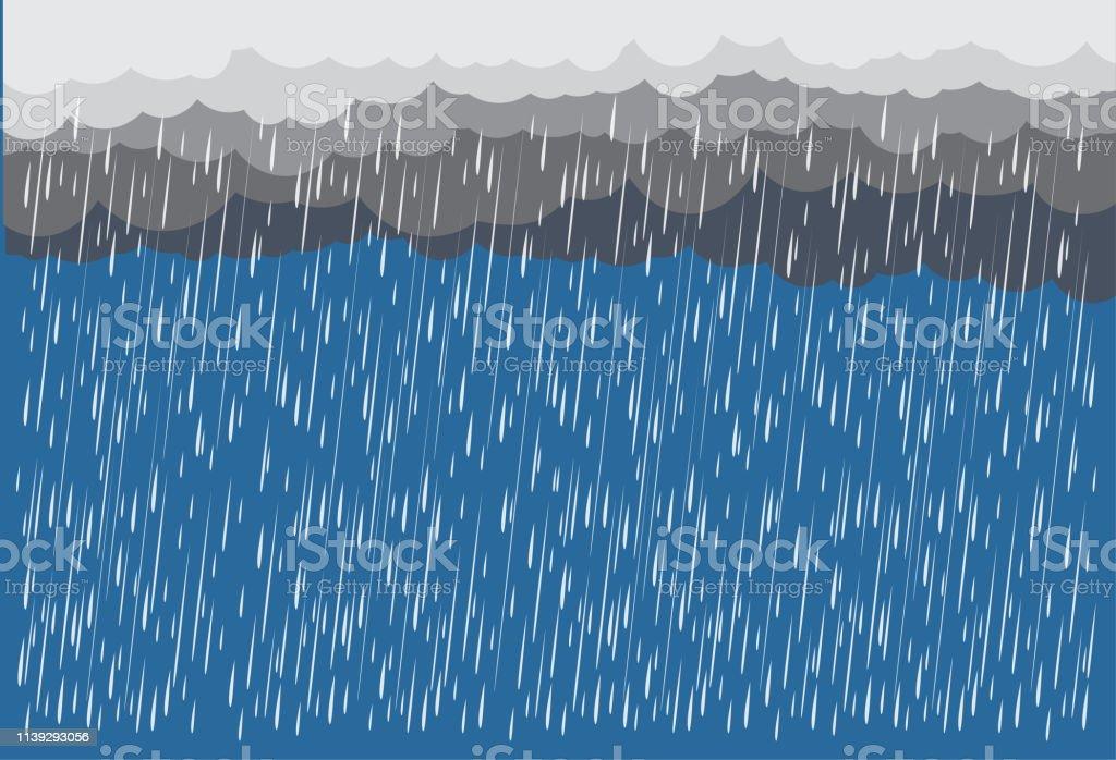 Cloud and rain, rainy season, vector design , illustration.