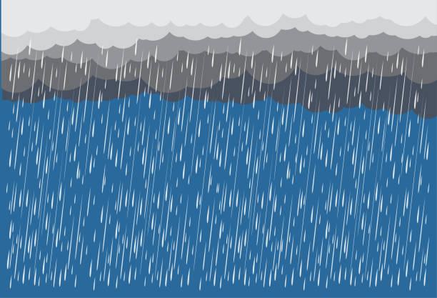 illustrations, cliparts, dessins animés et icônes de nuage et pluie, saison des pluies, conception vectorielle, illustration. - pluie