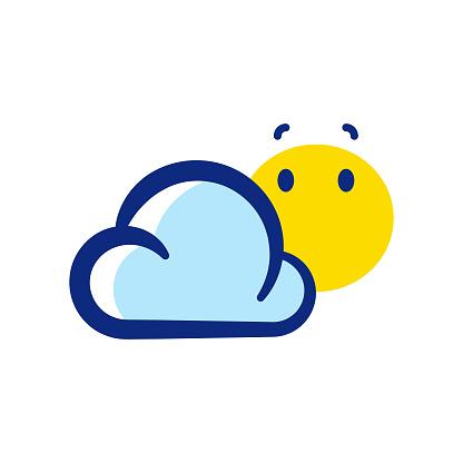 Cloud and sun cute emoticon design
