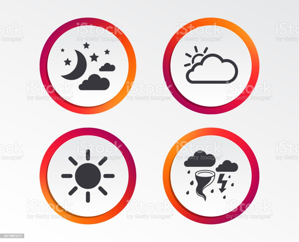 Cloud And Sun Icon Storm Symbol Moon And Stars Stock Vector Art