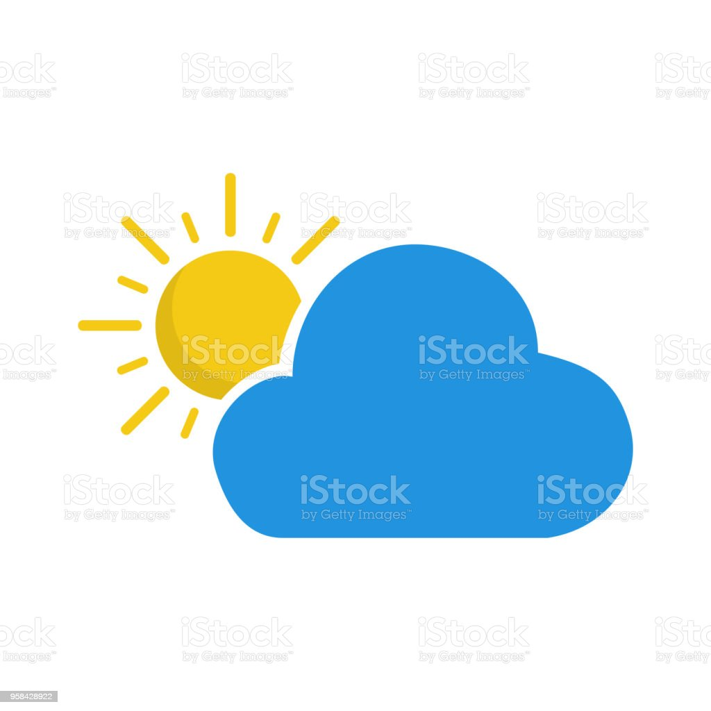 Cloud And Sun Weather Forecast Icon Seasons Clouds Symbol Stock