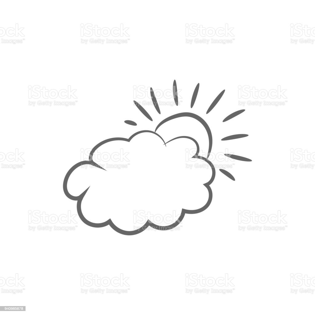 Cloud And Sun Weather Forecast Icon Vector Stock Illustration