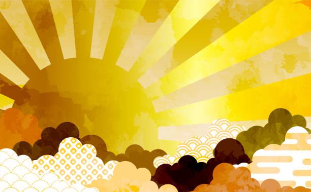 Cloud background illustration with Japanese pattern Haze Seigaiha Kanoko aperture Cloud background illustration with Japanese pattern Haze Seigaiha Kanoko aperture new years day stock illustrations