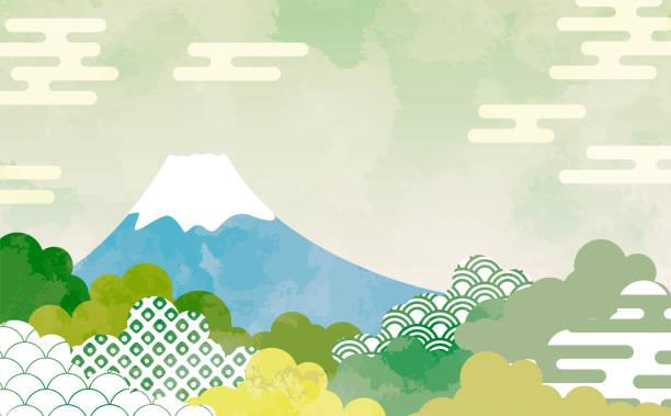日本の模様ヘイズ・セイガイハ・カノコ・アパーチャー付き雲の背景イラスト - 富士山点のイラスト素材/クリップアート素材/マンガ素材/アイコン素材