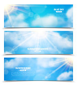 Blue sky with sun rays trough clouds three horizontal summer time banners set abstract isolated vector illustration