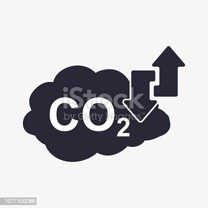 CO2 Icon. Cloud Carbon Dioxide Emissions Arrows Up Down Illustration. Pollution of air and the environment.