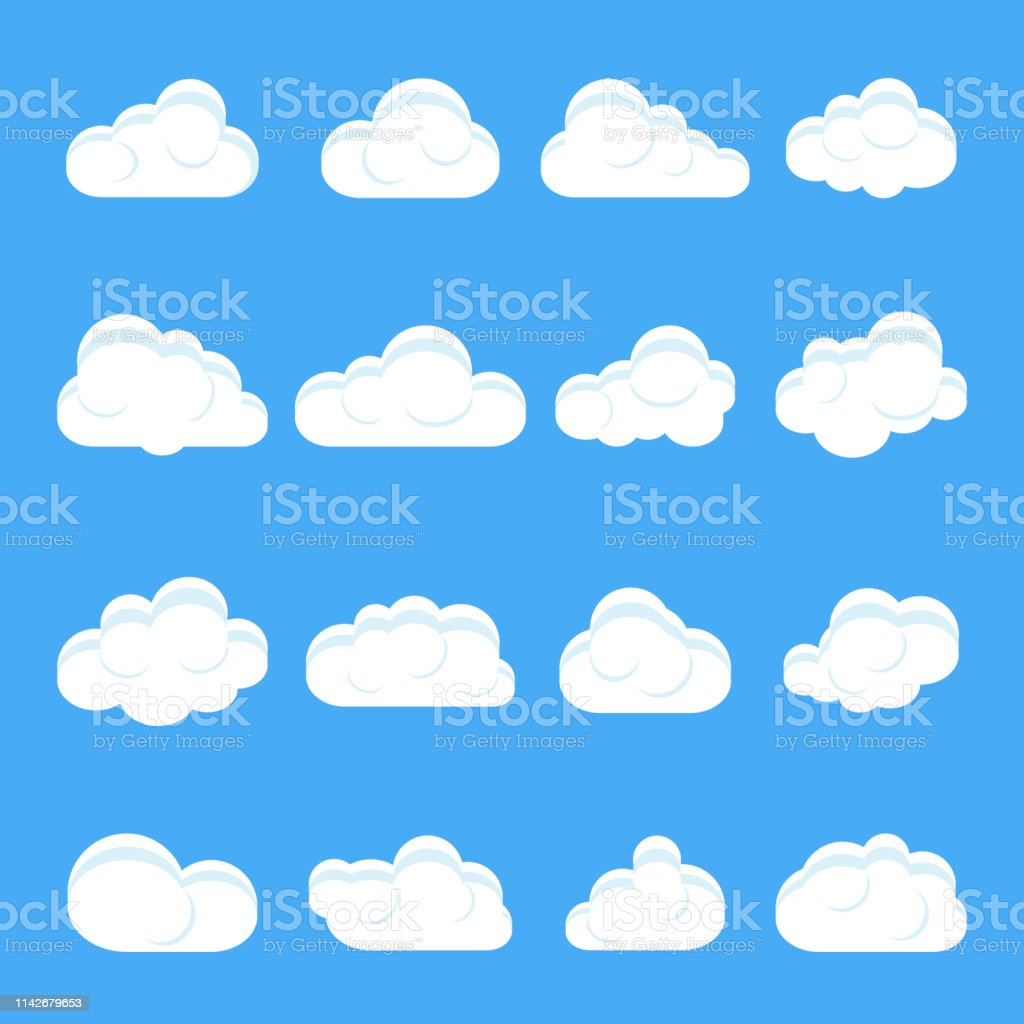 Vetores de Desenhos Animados Da Nuvem Jogo De Nuvens Diferentes Dos Desenhos  Animados Nuvens Em Um Fundo Azul Isolado Vetor e mais imagens de Abstrato -  iStock