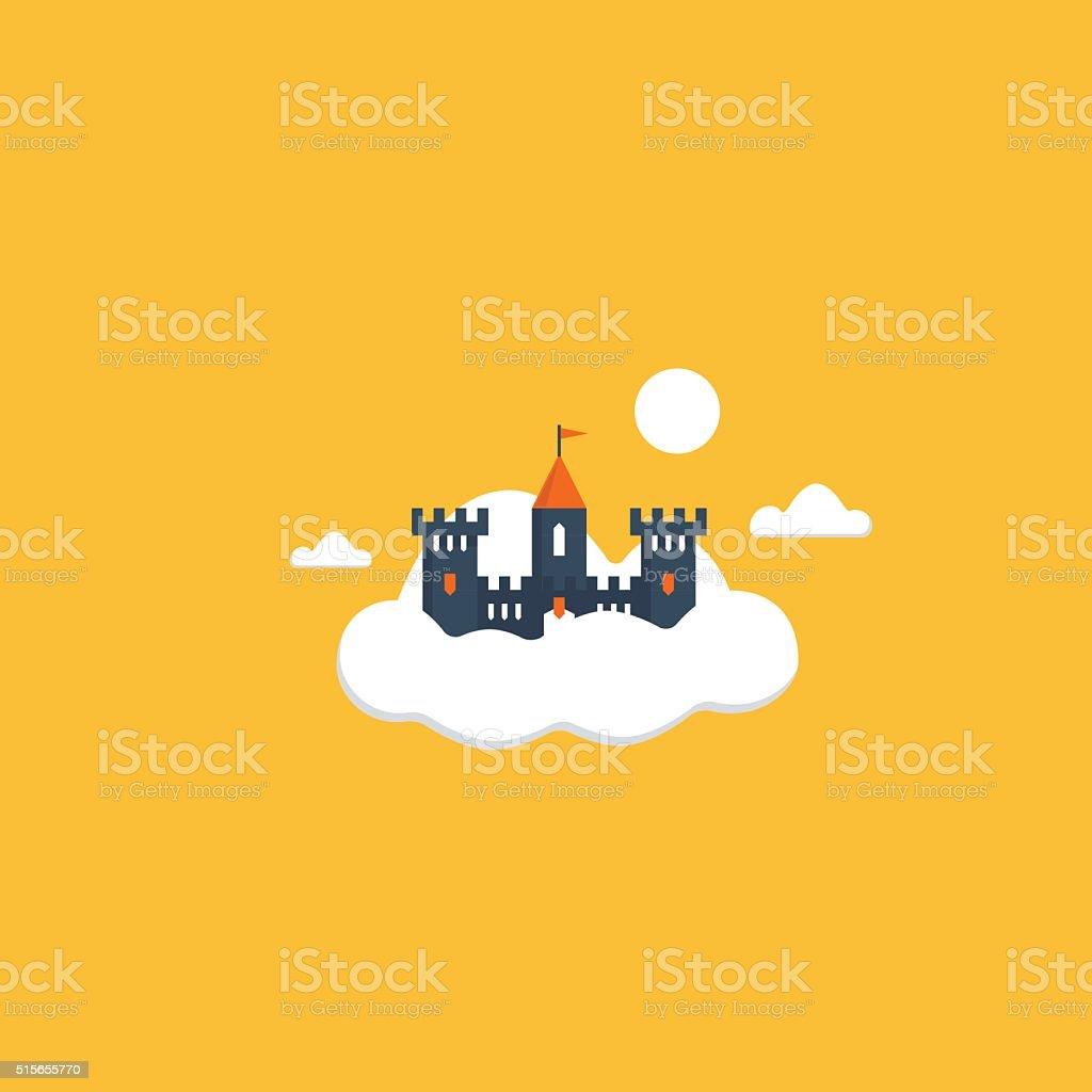 Cloud castle vector art illustration