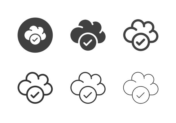 Cloud Checker Icons - Multi Series vector art illustration