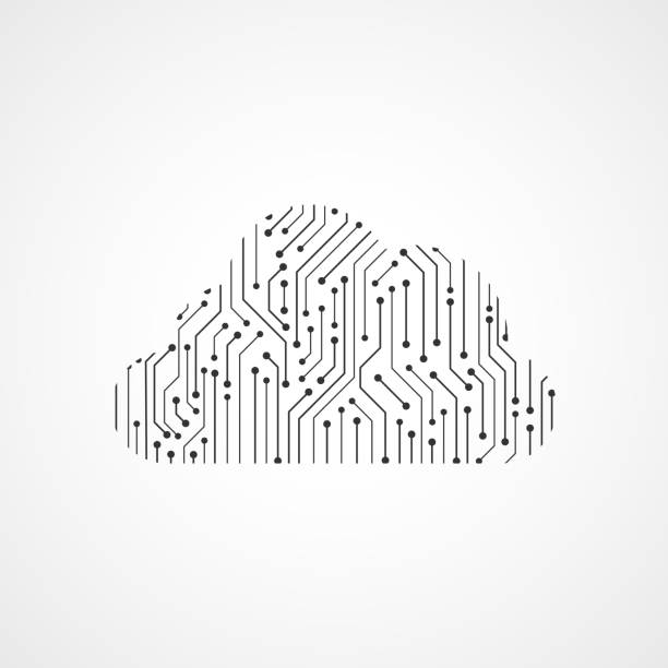Cloud circuit board vector art illustration
