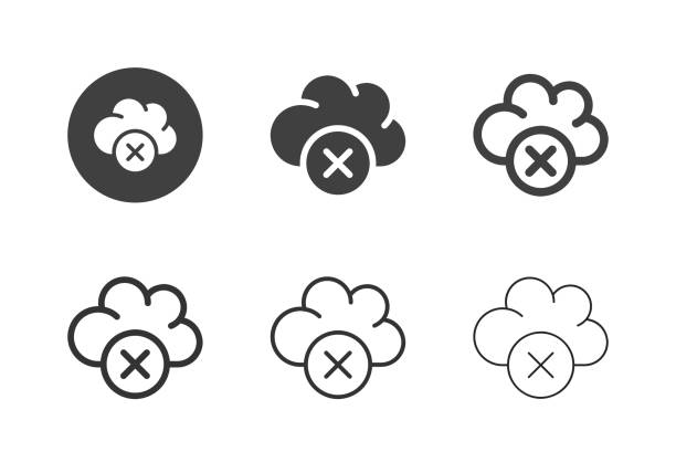 Cloud Close Icons - Multi Series vector art illustration
