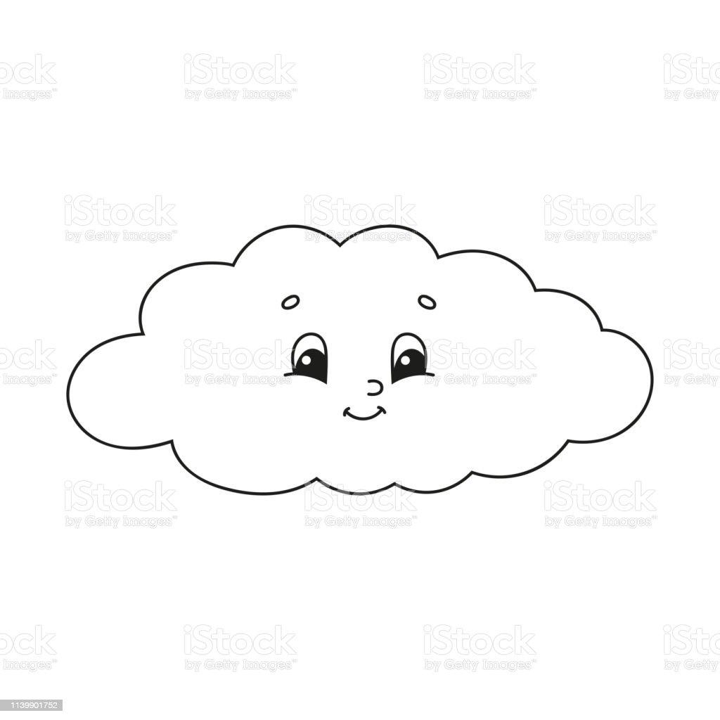 Ilustración De Nube Libro Para Colorear Para Niños Carácter Alegre