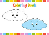 Cloud. Coloring book for kids. Cheerful character. Vector illustration. Cute cartoon style. Hand drawn. Fantasy page for children. Isolated on white background.