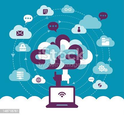 Vector Illustration - Cloud Communication Concept