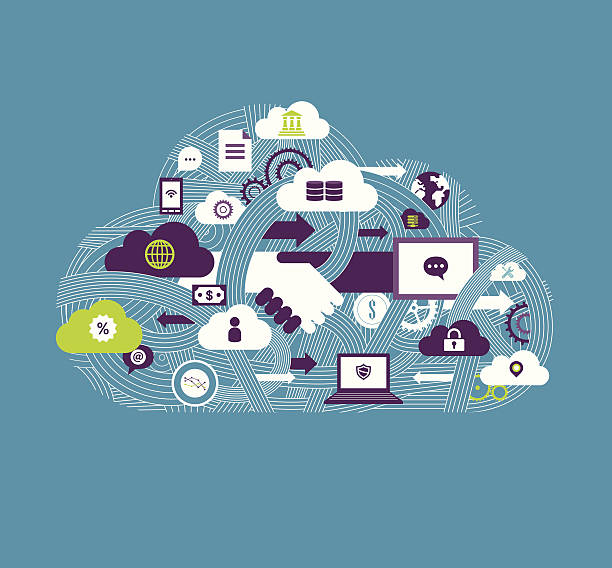 Cloud Communication vector art illustration