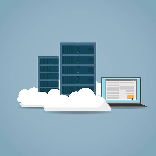 stockillustraties, clipart, cartoons en iconen met cloud computer concept - netwerkserver