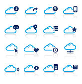 An illustration of cloud computing and media two color icons set for your web page, presentation, apps and design products. Vector format can be fully scalable & editable.