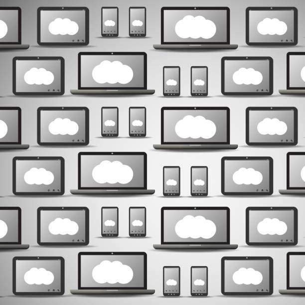 cloud-computing und movile vernetzung muster - tablet mit displayinhalt stock-grafiken, -clipart, -cartoons und -symbole
