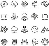 Cloud Computing and Social Networking icons collection.