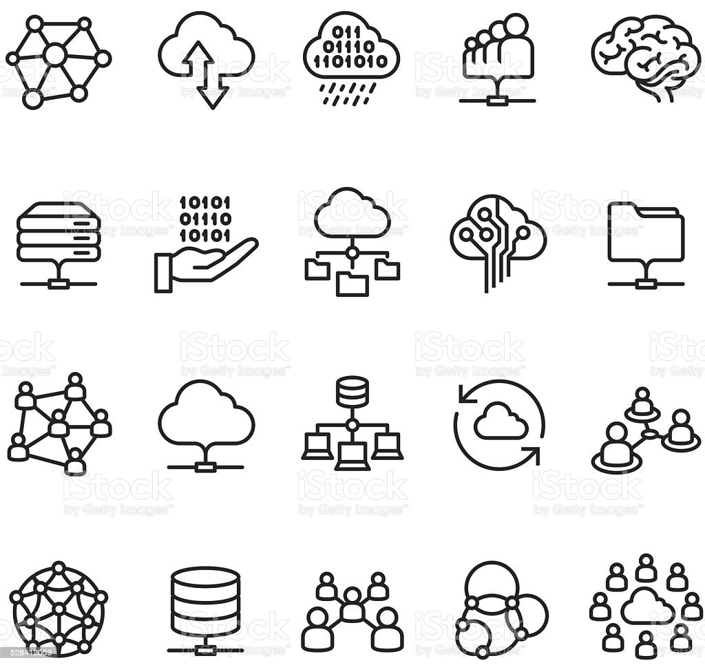 Cloud Computing and Networking icon vector art illustration