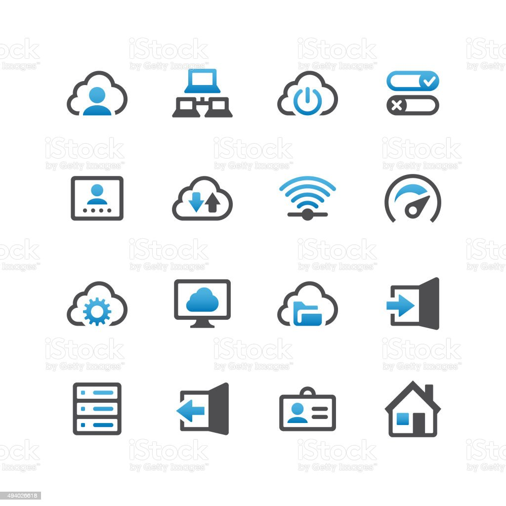 Cloud Computing and Networks vector art illustration