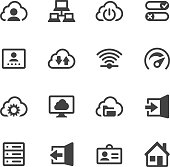 Set of 16 Cloud Computing and Networks vector icons. Easy resize.