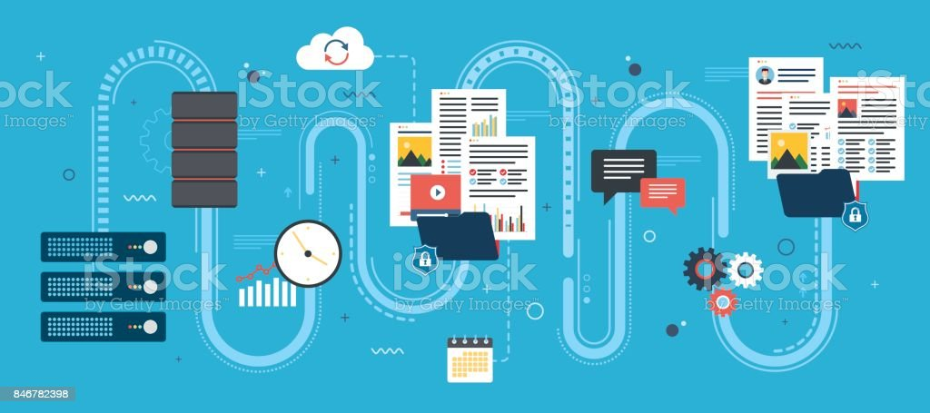 Cloud computing and Shared data. Download files safely. Vector design. vector art illustration