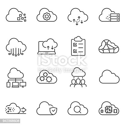 Cloud computing and storage of data icons set. linear style. Line with Editable stroke