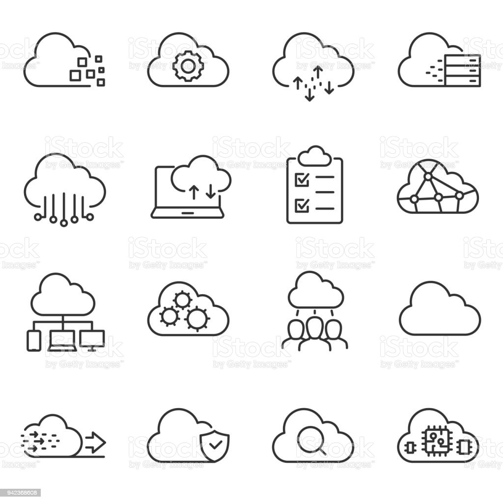 Cloud computing and storage of data icons set. Line with Editable stroke vector art illustration
