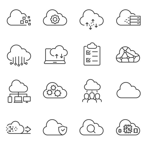 cloud computing and storage of data icons set. line with editable stroke - chmura stock illustrations