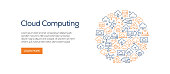 Cloud Computing Banner Template with Line Icons. Modern vector illustration for Advertisement, Header, Website.