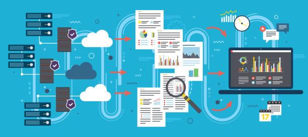 Nuvem de computação, análise de grande volume de dados e mineração de dados. - ilustração de arte em vetor