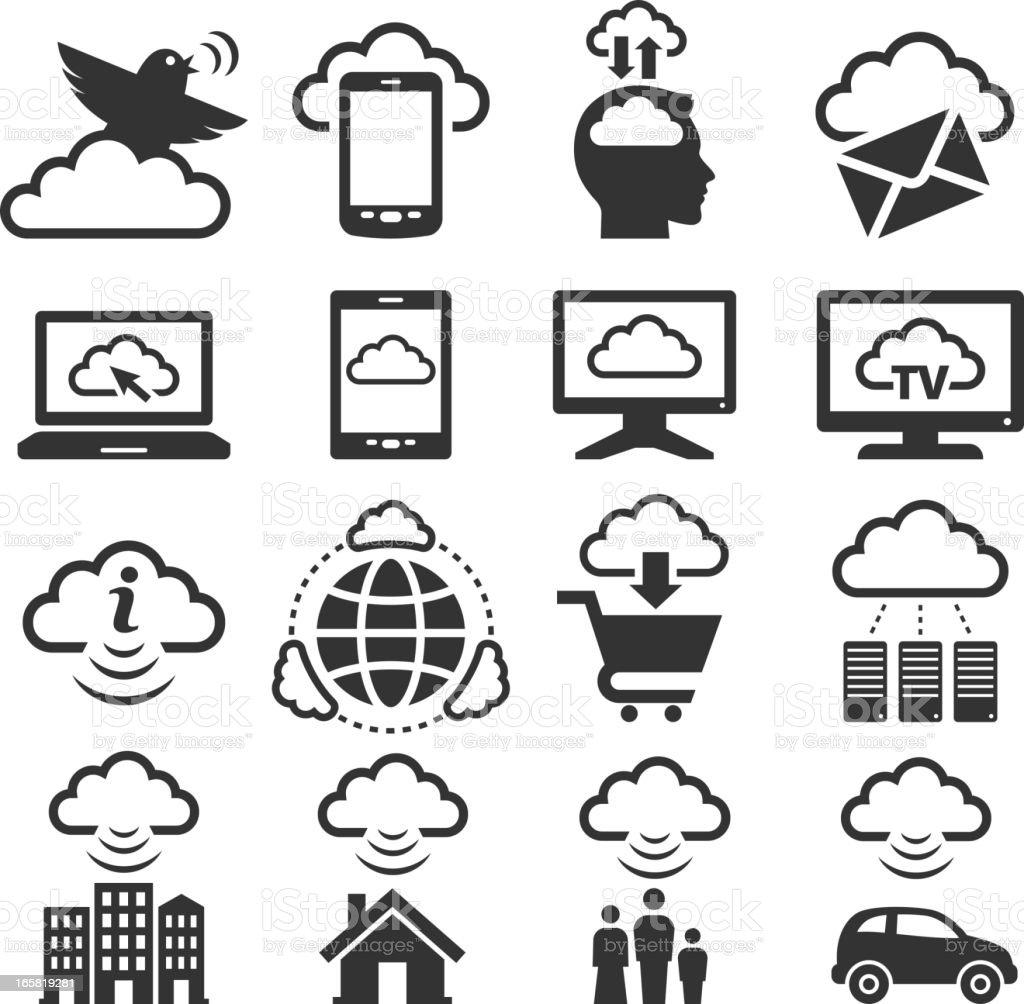 Cloud Computing black & white royalty free vector icon set royalty-free stock vector art