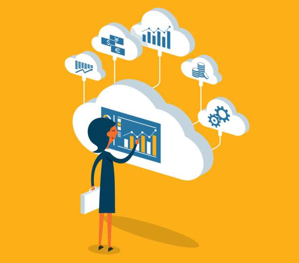 Cloud Computing - Geschäftsfrau – Vektorgrafik