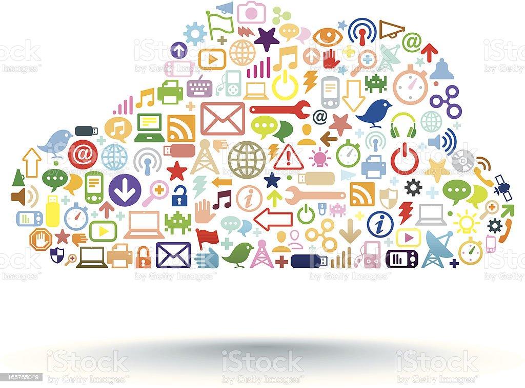 Cloud Computing Farbe Lizenzfreies cloud computing farbe stock vektor art und mehr bilder von akte