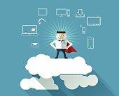 Cloud Computing concept background with Cartoon Superhero-businessman