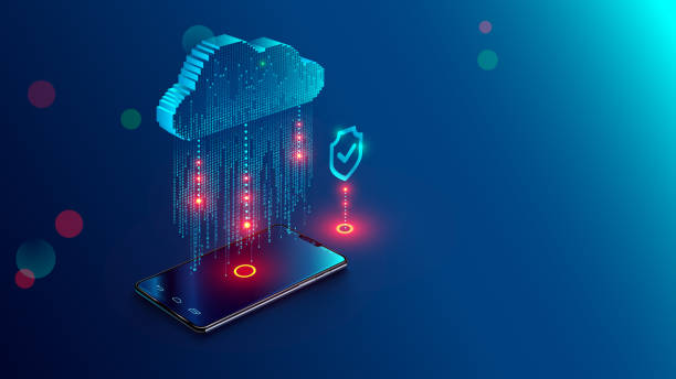 Cloud Computing Concept. Data protected exchange on smart phone or other mobile device and online storage. Cloud Technology illustration. Cloud Computing Concept. Data protected exchange on smart phone or other mobile device and online storage. Cloud Technology illustration. encryption stock illustrations
