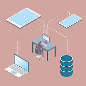 Cloud computing concept design, data sharing, connecting mobile phones, tablets, laptops and pc via the network. The background is brown.