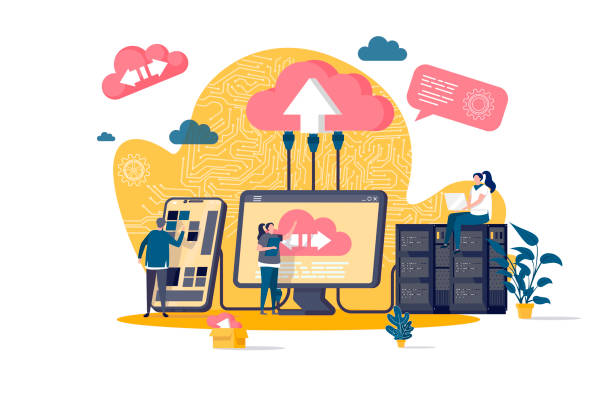 Cloud computing concept in flat style. IT specialists administrate cloud storage scene. Hosting platform, big data processing web banner. Cloud computing concept in flat style. IT specialists administrate cloud storage scene. Hosting platform, big data processing web banner. Vector illustration with people characters in work situation. administrate stock illustrations