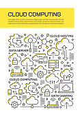 Cloud Computing Concept Line Style Cover Design for Annual Report, Flyer, Brochure.