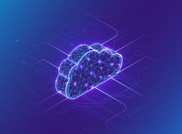 cloud-computing-konzept, neonlicht, verbindung im neuronalen netzwerk, isometrischer vektor-technologiehintergrund, hightech-modern-blue-design - cloud computing stock-grafiken, -clipart, -cartoons und -symbole