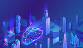 Cloud computing concept, server, smartphone, modem, tablet connected in neural network, isometric vector technolodgy background, modern blue design