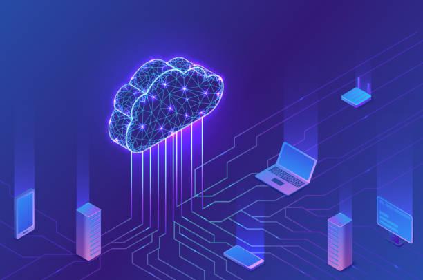 Cloud-Computing-Konzept, Server, Smartphone, Modem, Tablet in neuronalem Netzwerk verbunden, isometrischevektor-technologievingy Hintergrund, modernes blaues Design – Vektorgrafik